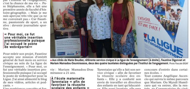En mission de Service Civique avec la Ligue de l'enseignement de la Loire, quatre volontaires font parties de la promotion printemps 2018 de l'Institut de l'Engagement. Mariam, Angélique, Myndi et […]
